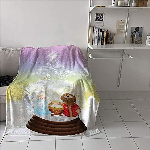 Suchashome Christmas Blanket Room/Bedroom,Noel Themed Crystal Ball Scene Baby with Mother Snowflake Stars Illustration,Print Summer Quilt Comforter,Digital Printing Blanket 40