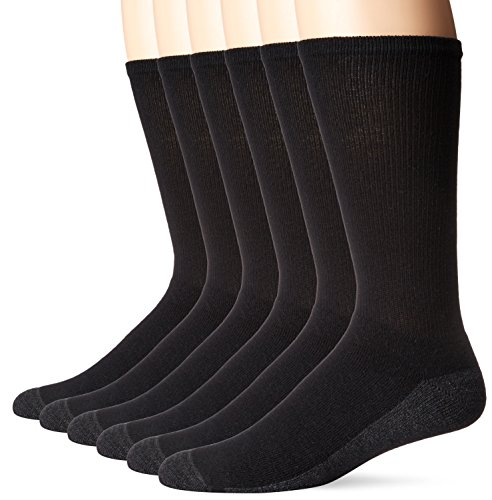 Hanes Men's Comfortblend Max Cushion Crew Socks 6-Pack, Black, Shoe Size: 6-12 - Hanes Black Socks