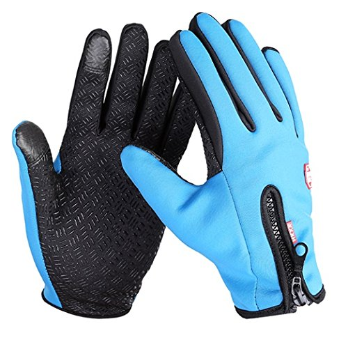 Star-Art 1 Pair Winter Cycling Gloves,Winter Outdoor Windproof Cycling Glove Touchscreen Gloves for Smart Phone (Blue, M)