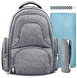 Wish Baby Diaper Bag Backpack w/Insulated Pockets and Stroller Strap - Large Waterproof Multi-Function Travel Organizer - Changing Pad, Bottle Holder and Pacifier Clip Included