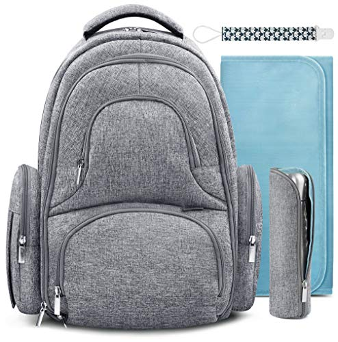 Wish Baby Diaper Bag Backpack w/Insulated Pockets and Stroller Strap - Large Waterproof Multi-Function Travel Organizer - Changing Pad, Bottle Holder and Pacifier Clip Included by Swish Baby