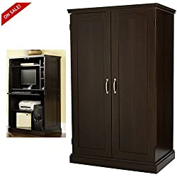 Computer Armoire Cabinet Desk Cherry Home Office Wood Furniture With Doors & eBook By Easy&FunDeals