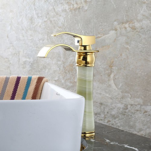 MDRW-Bathroom Accessories Basin Faucet Raised Height Falls Golden Basin Raised The Dragon Head Retro-Copper Hot And Cold Natural Jade -