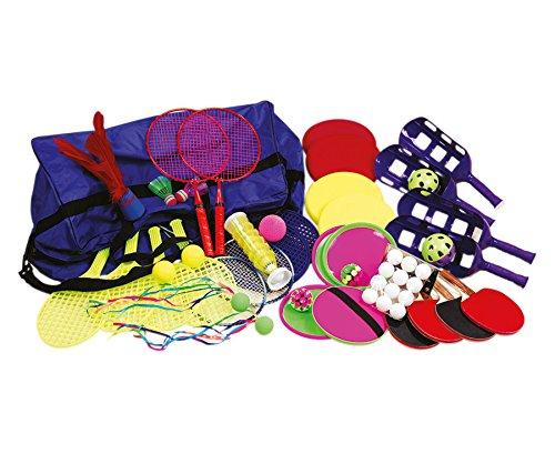 Betzold Rückschlagspiele-Set mit Bigbag, für Anfänger, Könner, Spaßspieler, inkl. Robuster Tasche, für mehr als 20 Kinder