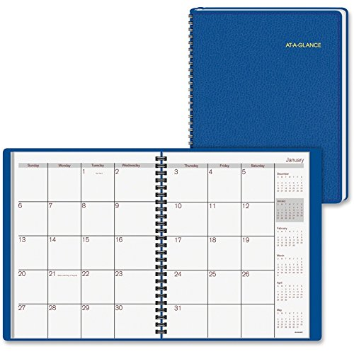 At-A-Glance Fashion Desk Monthly Planner - Monthly - 6.87quot; x 8.75quot; - 1 Year - January Till December 1 Month Double Page Layout - Leather - Blue
