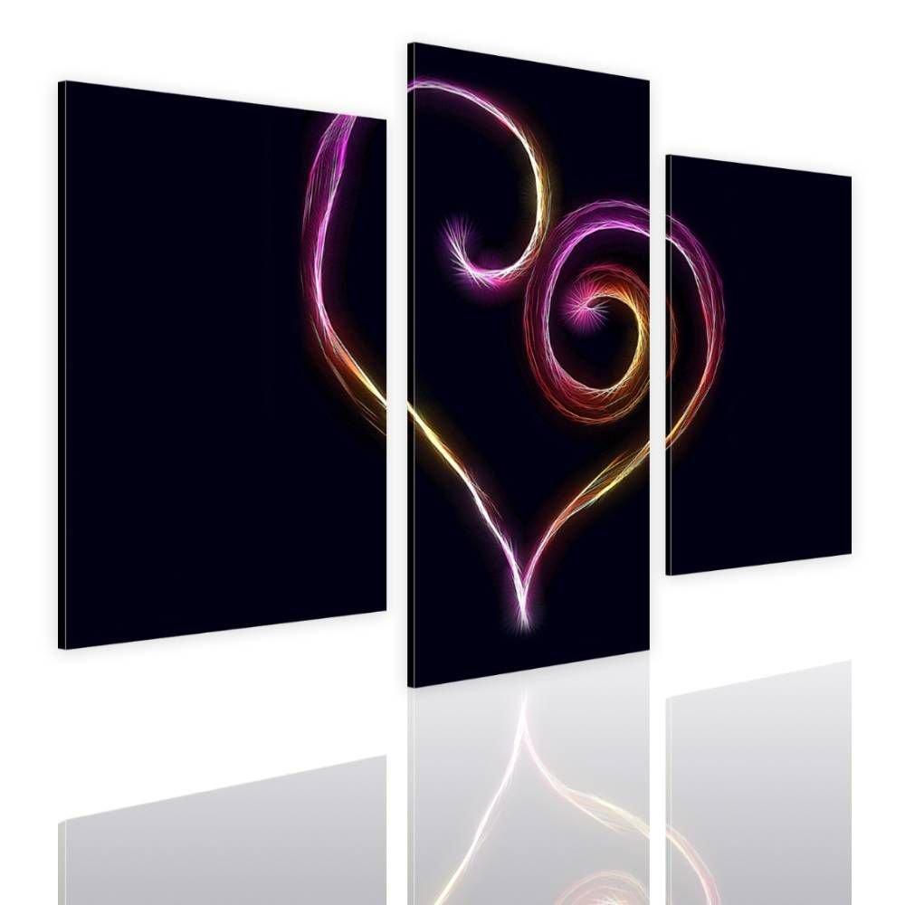 Alonline Art - Digital Art Heart Split 3 Panels Framed Stretched Canvas (100% Cotton) Gallery Wrapped - Ready to Hang | 39''x26'' - 99x66cm | 3 Panels Multi for Bedroom Framed Artwork for Home Decor