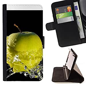 DEVIL CASE - FOR HTC One M9 - Fruit Macro Wet Apple - Style PU Leather Case Wallet Flip Stand Flap Closure Cover