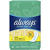 Always Ultra Thin Feminine Pads for Women, Size 1, Regular Absorbency, Unscented, 44 Count-Pack of 3 (132 Count Total)