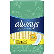Always Sanitary Pads, Ultra Thin Without Wings, Regular Absorbency, Feminine Pads, 44 Count (Pack of 3)(Package May Vary)