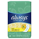 Always Ultra Thin Size 1, Regular Absorbency Feminine Pads without Wings, Unscented, 44 count - Pack of 3 (132 Total Count) (Packaging May Vary)
