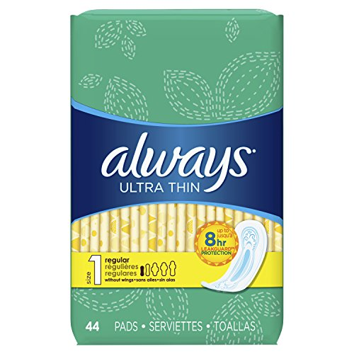 Always Ultra Thin Pads, Size 1, Regular Absorbency, Unscented, 44 Count (Pack of 3)