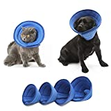 HenryDong Breathable Mesh Elizabethan Collar, Blue Soft Comfy Cotton Adjustable E-Collar, Quicker Healing Pet Recovery Cone, Soft Edges,Anti-Bite/Lick for Cat, Dog, Rabbit.