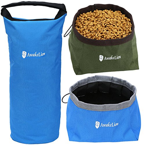 Portable Travel Dog Food Carrier +2 Pack Dog Bowl Food Water -Perfect Medium & Large Dog