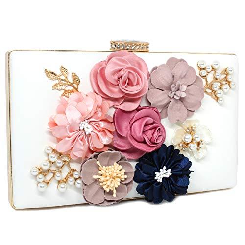 imeetu Women Flowers Pearls Elegant Envelope Clutch bag Purse Evening Handbag With 2 Chain Strap(White)
