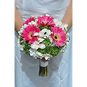Gorgeous Artificial Pink Gerbera and Dendrobium Orchid Bridal Bouquet with Green Allium 42