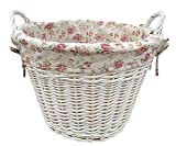 White Wash Wicker Log Storage Basket/Laundry with Garden Rose Lining - Gift idea for Mother's Day, Birthday and more by Fine Gifts UK