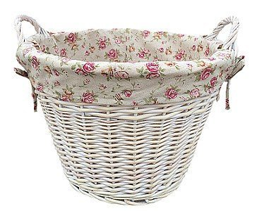 White Wash Wicker Log Storage Basket/Laundry with Garden Rose Lining - Gift idea for Mother's Day, Birthday and more by Fine Gifts UK by Fine Gifts UK
