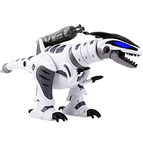 Zooawa RC Remote Control Robotic Dinosaur, Rechargable Intelligent Programmable Reptile Dragon - White + Black (Control Dragon)