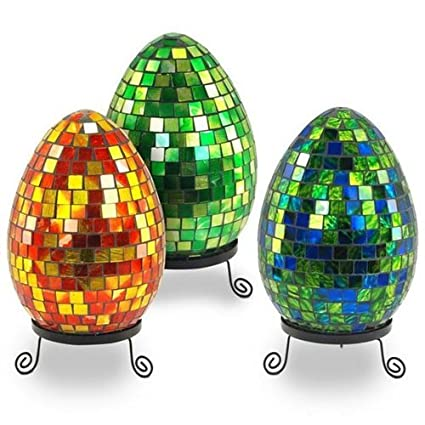 Lampara Huevo Cristal Colores Surtidos (1 unidad) 26 cm: Amazon.es ...