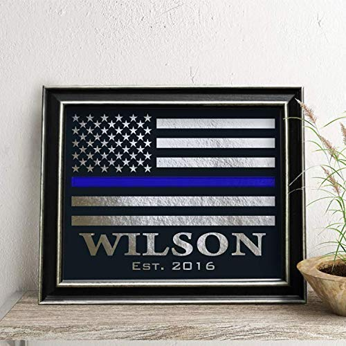 Personalized Police Officer Gift, Thin Blue Line Flag, Law Enforce sign, Real Foil Print -