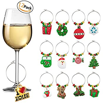 zolee wine glass charms set of 12 christmas rings ornaments bulk drink markers with simple buckle - Christmas Wine Charms