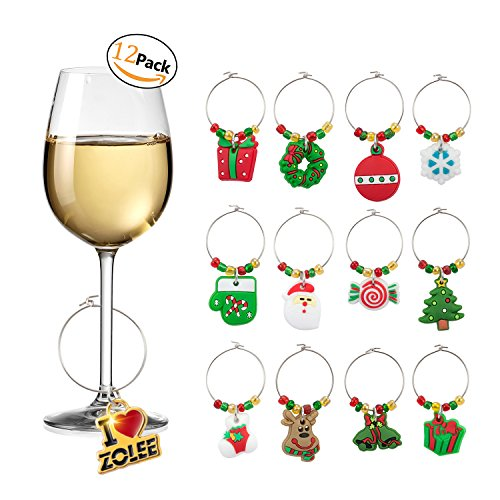 Zolee Wine Glass Charms Set of 12 Christmas Rings Ornaments Bulk Drink Markers with Simple Buckle Design Winter Holiday Decorations for Glasses Soft PVC