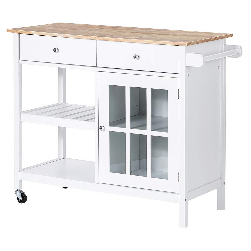 ChooChoo Rolling Kitchen Island, Portable Kitchen Cart Wood Top Kitchen Trolley with Drawers and Glass Door Cabinet, Wine Shelf, Towel Rack, White by ChooChoo