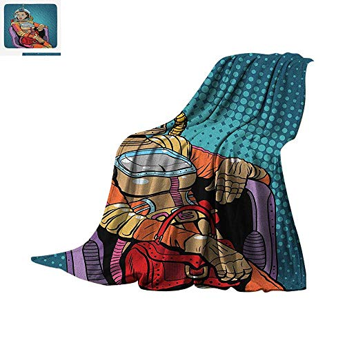 Astronaut Throw Blanket Retro Inspired Space Lady with for sale  Delivered anywhere in USA
