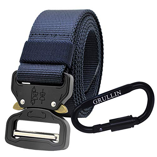 GRULLIN Tactical MOLLE Nylon Belt,Military Style Riggers Web Waist Belt with Heavy Duty Quick Release Metal Buckle for Men (Navy Blue 11)