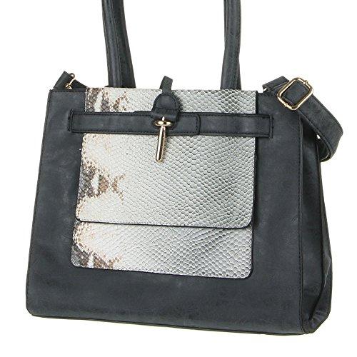 Mujer, Tamaño Mediano Bolsa Shopper–Bolso, piel sintética, TA de J de 9267–40 negro