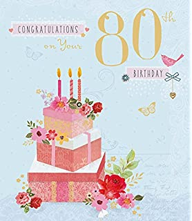 Amazon happy birthday niece greetings card home kitchen congratulations 80th birthday cake flowers age 80 traditional new card m4hsunfo