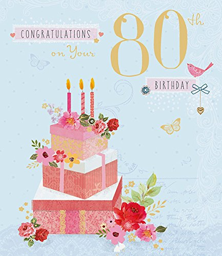 Amazon Congratulations 80th Birthday Cake Flowers Age 80 Traditional New Card Office Products