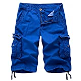 AOYOG Mens Solid MultiPocket Cargo Shorts Casual Slim Fit Cotton Solid Camo Shorts, Blue 082, Lable size 38(US 36) (Color: Blue #082, Tamaño: 38)