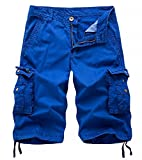 AOYOG Men's Solid Multi-Pocket Cargo Shorts Casual Slim Fit Cotton,Blue,Tag32 US30