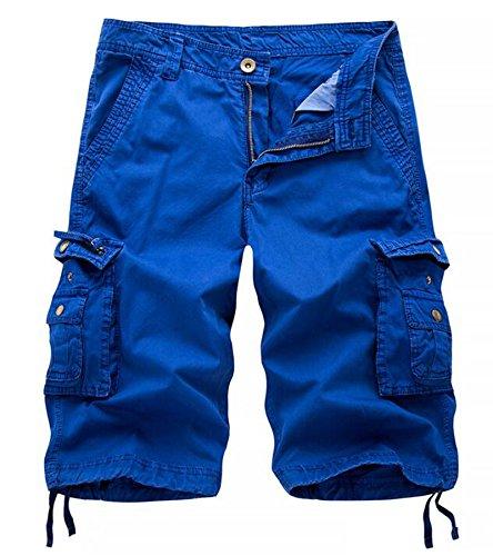 Winoto Mens Camo Cargo Shorts Multi Pockets Camouflage Twill Cargo Short, Blue, 40