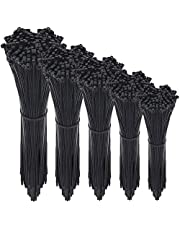 KING UP Cable Zip Ties,100PCs in one or 500PCs in one Packs Self-Locking 4.6.8.10.12-Inch Width 0.16inch Nylon Cable Ties,Perfect for Home,Office,Garage and Workshop (Black) (5 SET-500PCs)