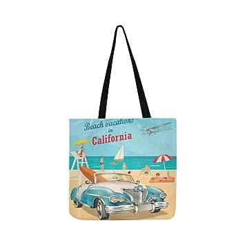 Playa Vacaciones California Cartel Retro Lienzo Tote Bolso ...