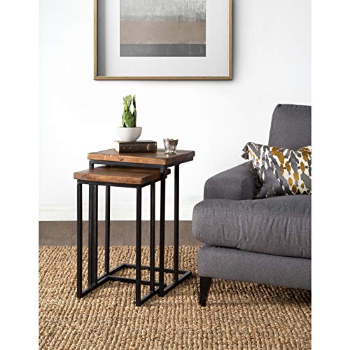PH 2 Piece 26 Inch Black Accent Table, Eco-Friendly Style Indoor Nesting Tables Industrial Style Square Shaped End Table Handcrafted from Mango Wood Transitional Style, Iron Wood (Square Nesting Tables Iron)