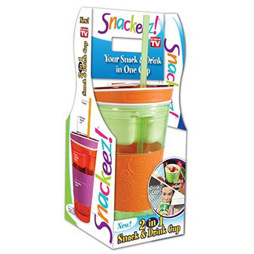 (IDEA VILLAGE PRODUCTS SNAKZ Snackeez Snack & Drink Cup, Multicolor)