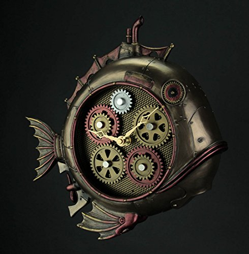 Veronese Design Steampunk Style Fish Submarine Wall Clock 4
