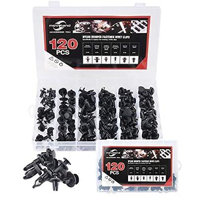 moveland 120 pcs Nylon Bumper Push Fasteners Rivet Clips Expansion Screws Replacement Kit - 6 Most Common Sizes