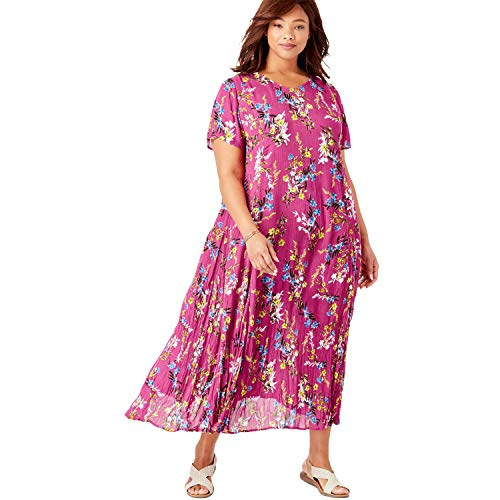 Woman Within Women's Plus Size Petite Crinkle Dress - Bright Berry Free Floral, ()