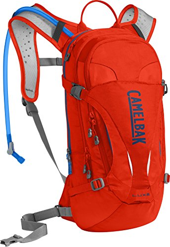 CamelBak L.U.X.E. Crux Reservoir Hydration Pack, Cherry Tomato/Pitch Blue, 3 L/100 oz ()