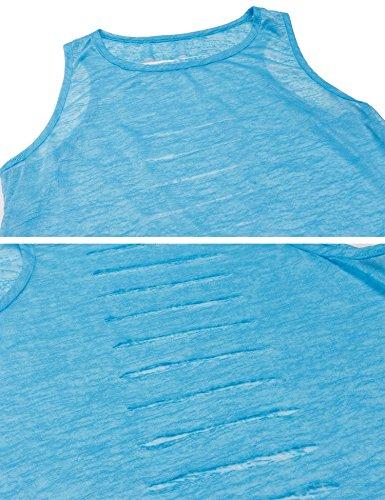 Teamyy Camiseta sin Manga Tanque Chaleco Mujer Casual Sólido Slim Hueco Agujeros en Espalda Azul