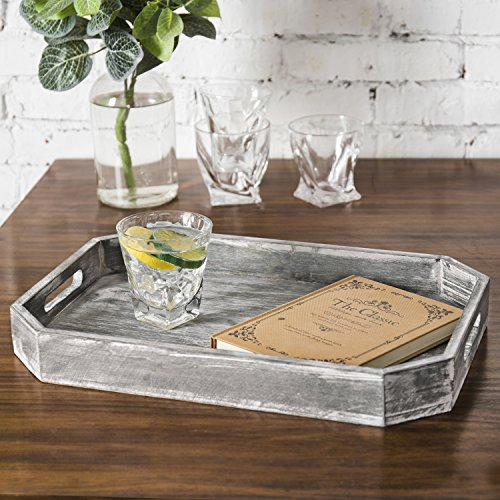 MyGift Country Rustic Wood Serving Tray with Cutout Handles and Angled Edges by MyGift (Image #1)
