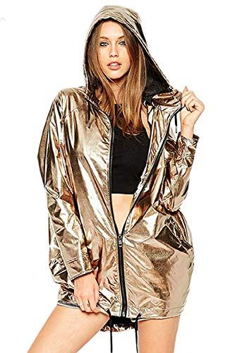 Métallique Outwear Femme Imperméable Zip Grand Capuche Hiver Or Or Faux Zhrui À Casual couleur Sweat Taille pFwqnvv1
