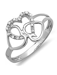 0.10 Carat (ctw) Sterling Silver Round Diamond Ladies Promise 3 Heart Infinity Love Bridal Ring 1/10 CT