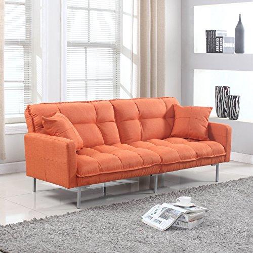 Divano Roma Furniture Collection   Modern Plush Tufted Linen Fabric  Splitback Living Room Sleeper Futon (Orange)