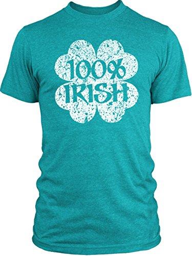 Vintage Shamrock Tri Blend (Big Texas Distressed 100% Irish Shamrock (White) Vintage Tri-Blend T-Shirt, Vintage Turquoise,)