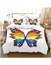 ODFNBD Girl Twin Full King Queen Bed Set Butterfly Bedding Set Animal Duvet Cover Quilt Cover Kids Bedroom Household Bedspread Child Room Cozy Quilt Set